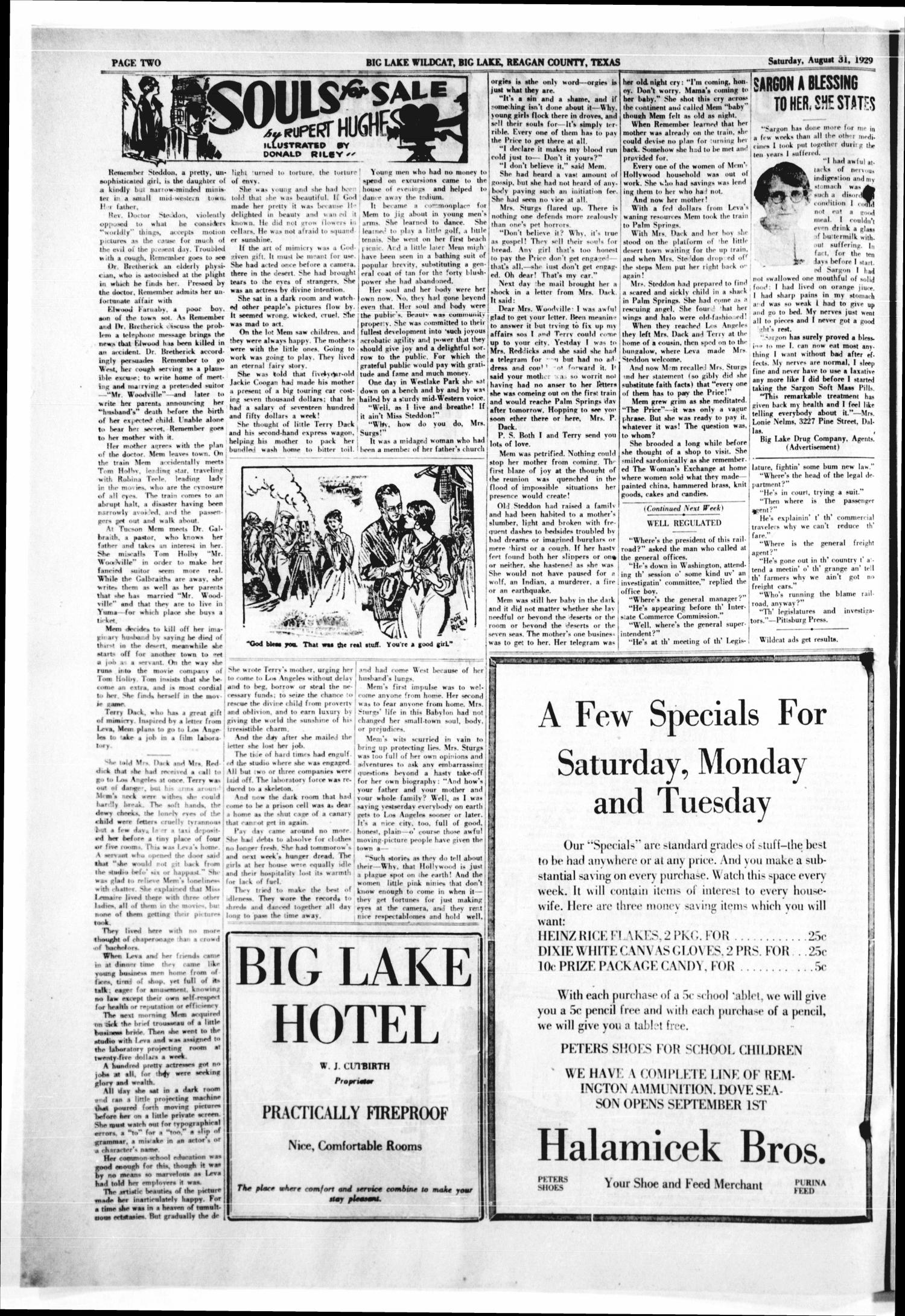 The Big Lake Wildcat (Big Lake, Tex.), Vol. 4, No. 51, Ed. 1 Saturday, August 31, 1929                                                                                                      [Sequence #]: 2 of 8