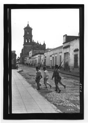 Primary view of object titled '[Mexican Soldiers Walking]'.