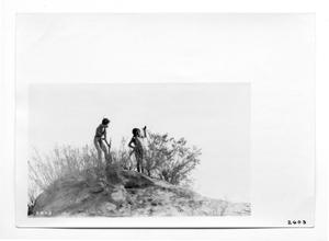 Primary view of object titled '[Yaqui Indians on Lookout]'.