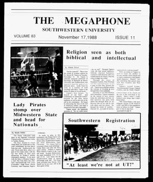 Primary view of object titled 'The Megaphone (Georgetown, Tex.), Vol. 83, No. 11, Ed. 1 Thursday, November 17, 1988'.