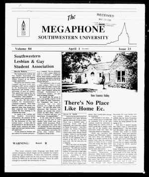 Primary view of object titled 'The Megaphone (Georgetown, Tex.), Vol. 84, No. 23, Ed. 1 Sunday, April 1, 1990'.