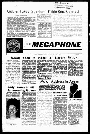 Primary view of object titled 'The Megaphone (Georgetown, Tex.), Vol. 62, No. 08, Ed. 1 Friday, October 25, 1968'.