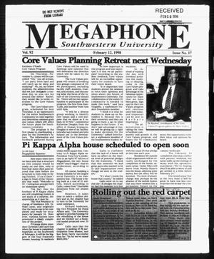 Primary view of object titled 'Megaphone (Georgetown, Tex.), Vol. 92, No. 17, Ed. 1 Thursday, February 12, 1998'.
