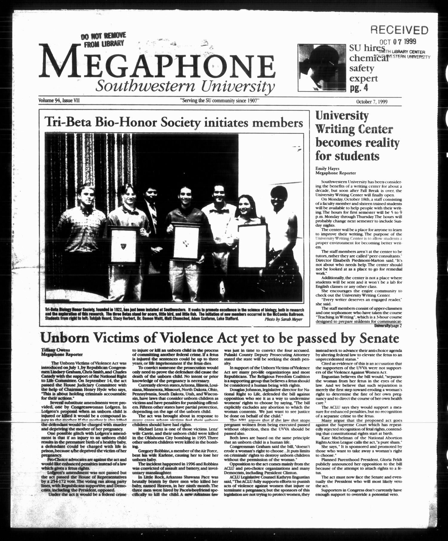 Megaphone (Georgetown, Tex.), Vol. 94, No. 07, Ed. 1 Thursday, October 7, 1999                                                                                                      [Sequence #]: 1 of 12