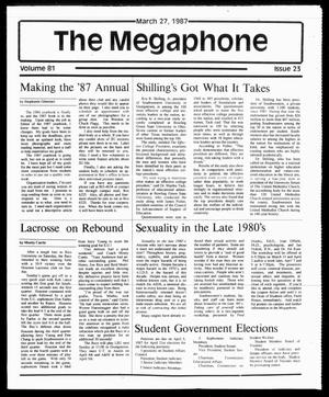 Primary view of object titled 'The Megaphone (Georgetown, Tex.), Vol. 81, No. 23, Ed. 1 Friday, March 27, 1987'.