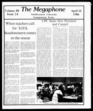 Primary view of object titled 'The Megaphone (Georgetown, Tex.), Vol. 80, No. 24, Ed. 1 Thursday, April 10, 1986'.