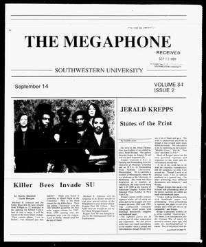 Primary view of object titled 'The Megaphone (Georgetown, Tex.), Vol. 84, No. 2, Ed. 1 Thursday, September 14, 1989'.
