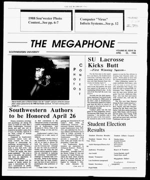 Primary view of object titled 'The Megaphone (Georgetown, Tex.), Vol. 82, No. 26, Ed. 1 Friday, April 22, 1988'.