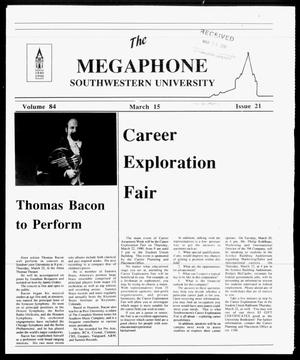 Primary view of object titled 'The Megaphone (Georgetown, Tex.), Vol. 84, No. 21, Ed. 1 Thursday, March 15, 1990'.