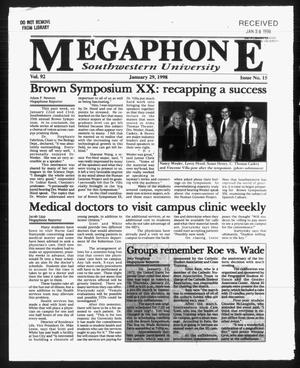 Primary view of object titled 'Megaphone (Georgetown, Tex.), Vol. 92, No. 15, Ed. 1 Thursday, January 29, 1998'.