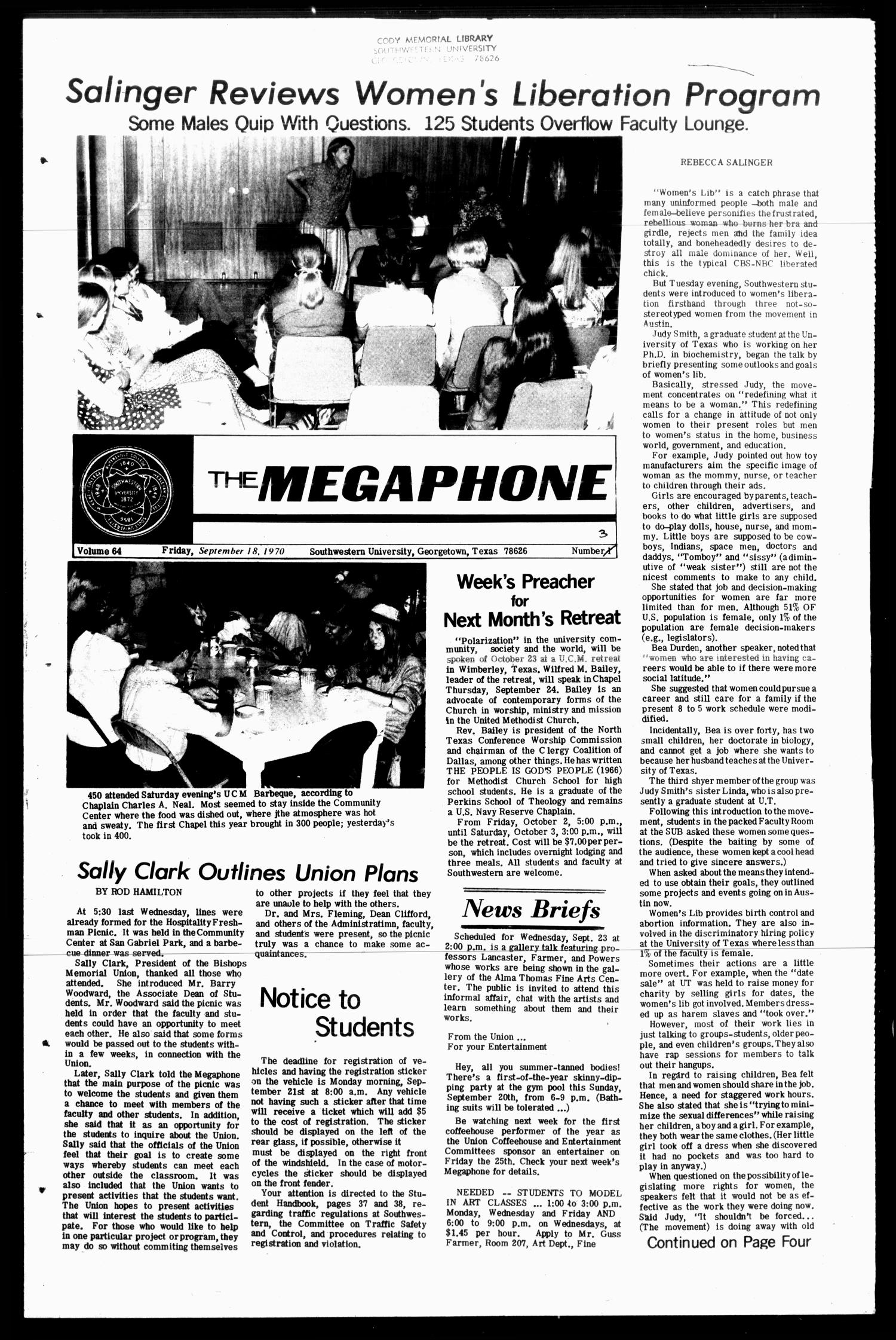 The Megaphone (Georgetown, Tex.), Vol. 64, No. 03, Ed. 1 Friday, September 18, 1970                                                                                                      [Sequence #]: 1 of 4