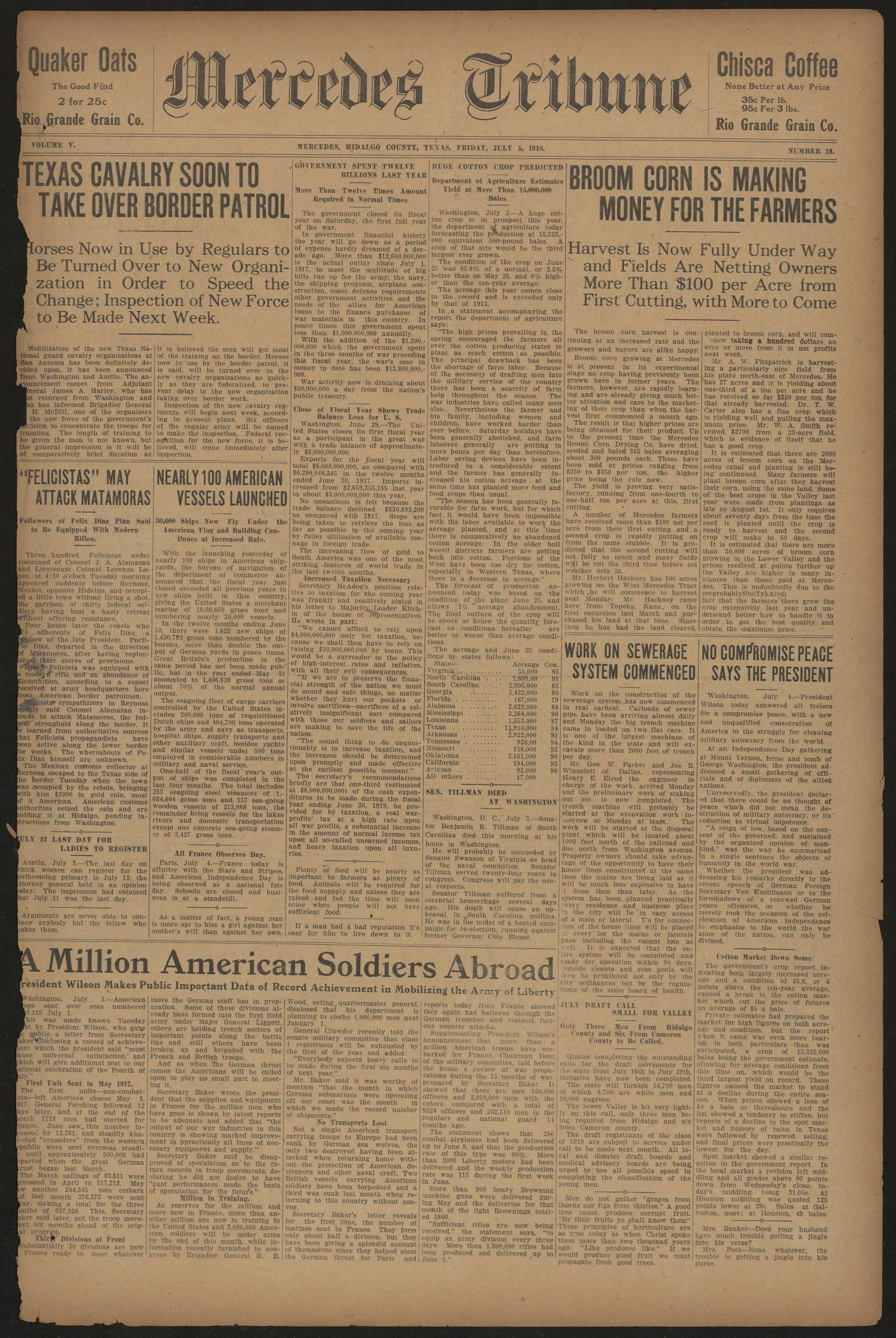 Mercedes Tribune (Mercedes, Tex.), Vol. 5, No. 19, Ed. 1 Friday, July 5, 1918                                                                                                      [Sequence #]: 1 of 10