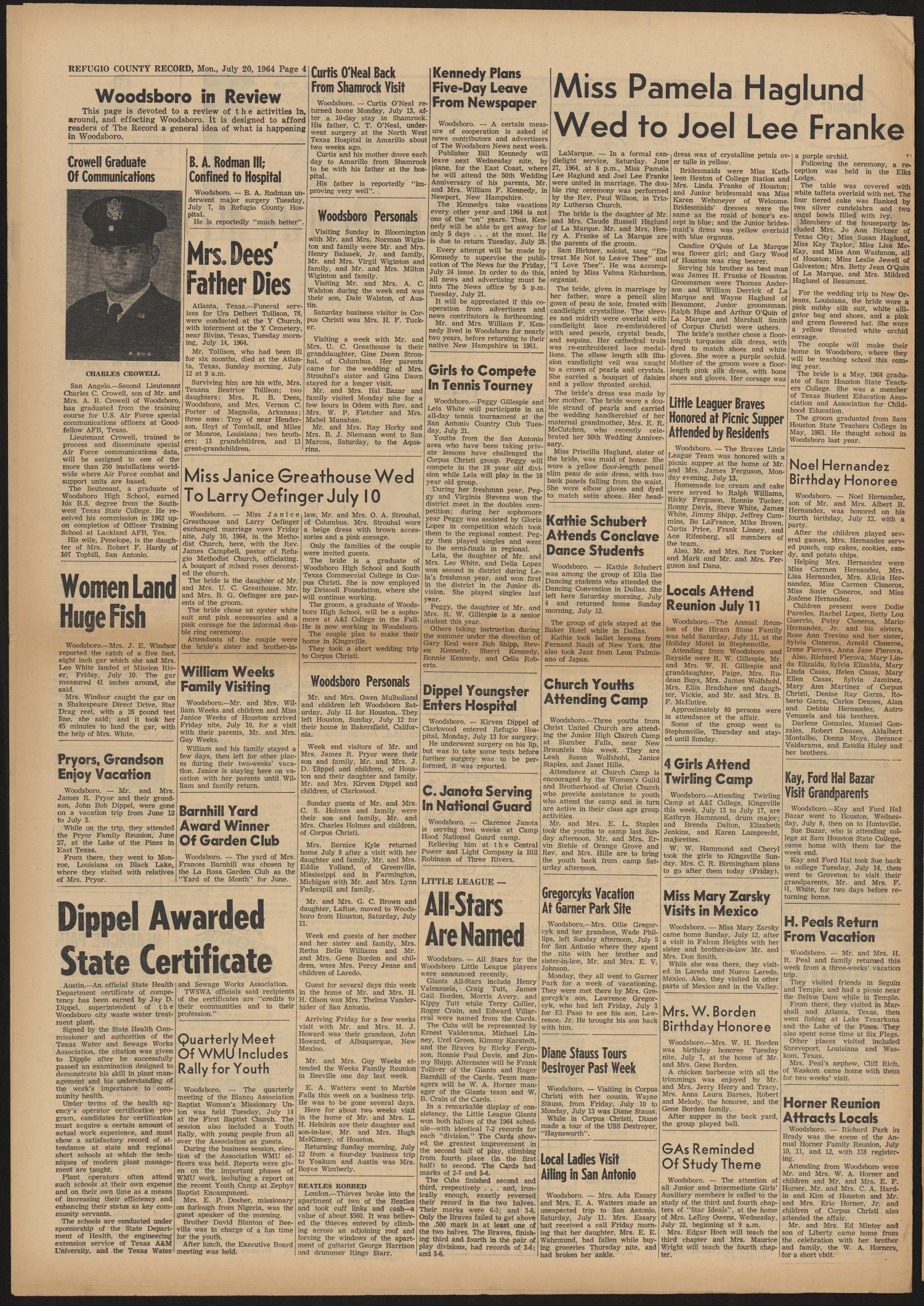 Refugio County Record (Refugio, Tex.), Vol. 10, No. 48, Ed. 1 Monday ...