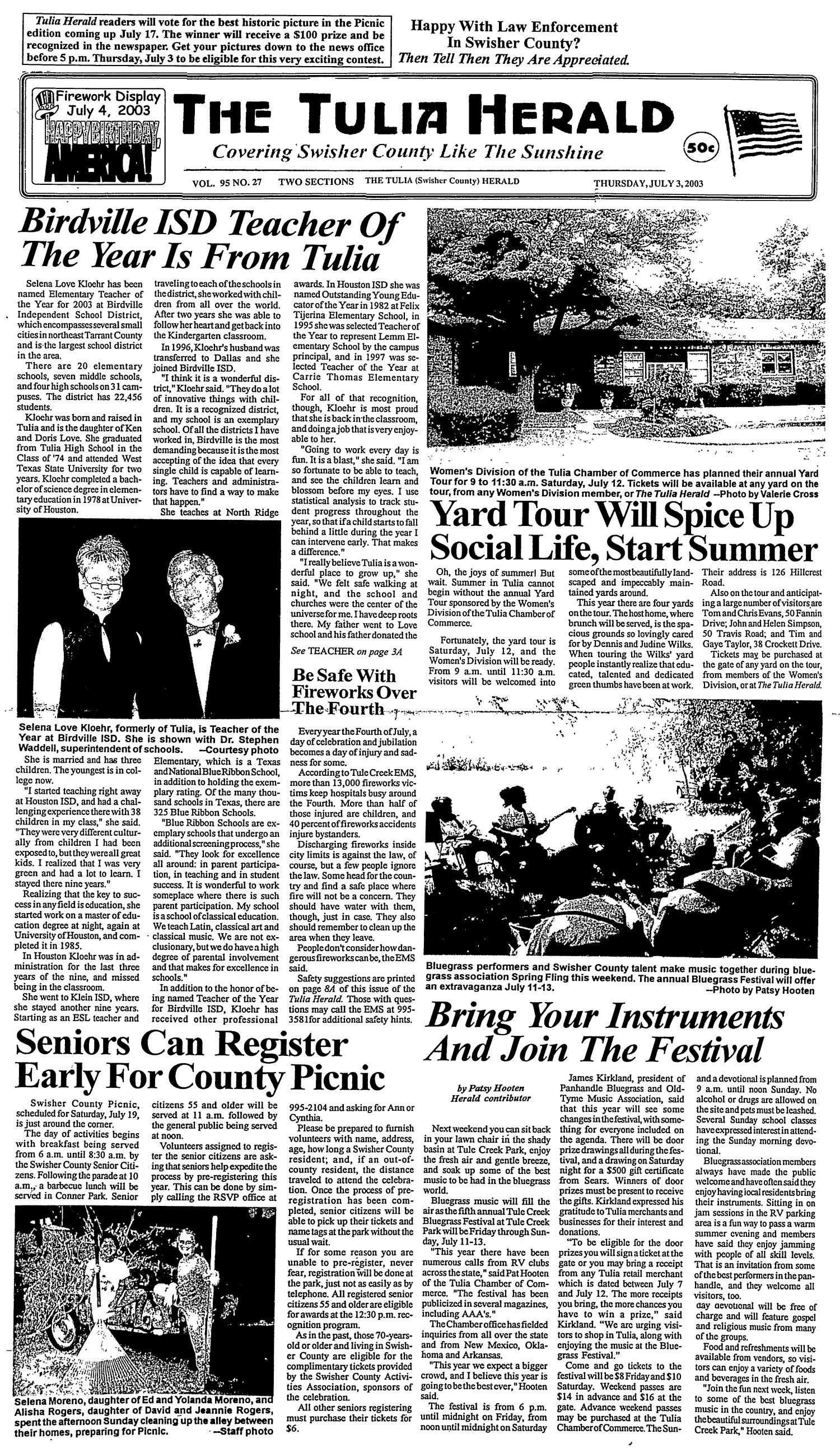 The Tulia Herald Tulia Tex Vol 95 No 27 Ed 1 Thursday July 3 2003 The Portal To Texas History