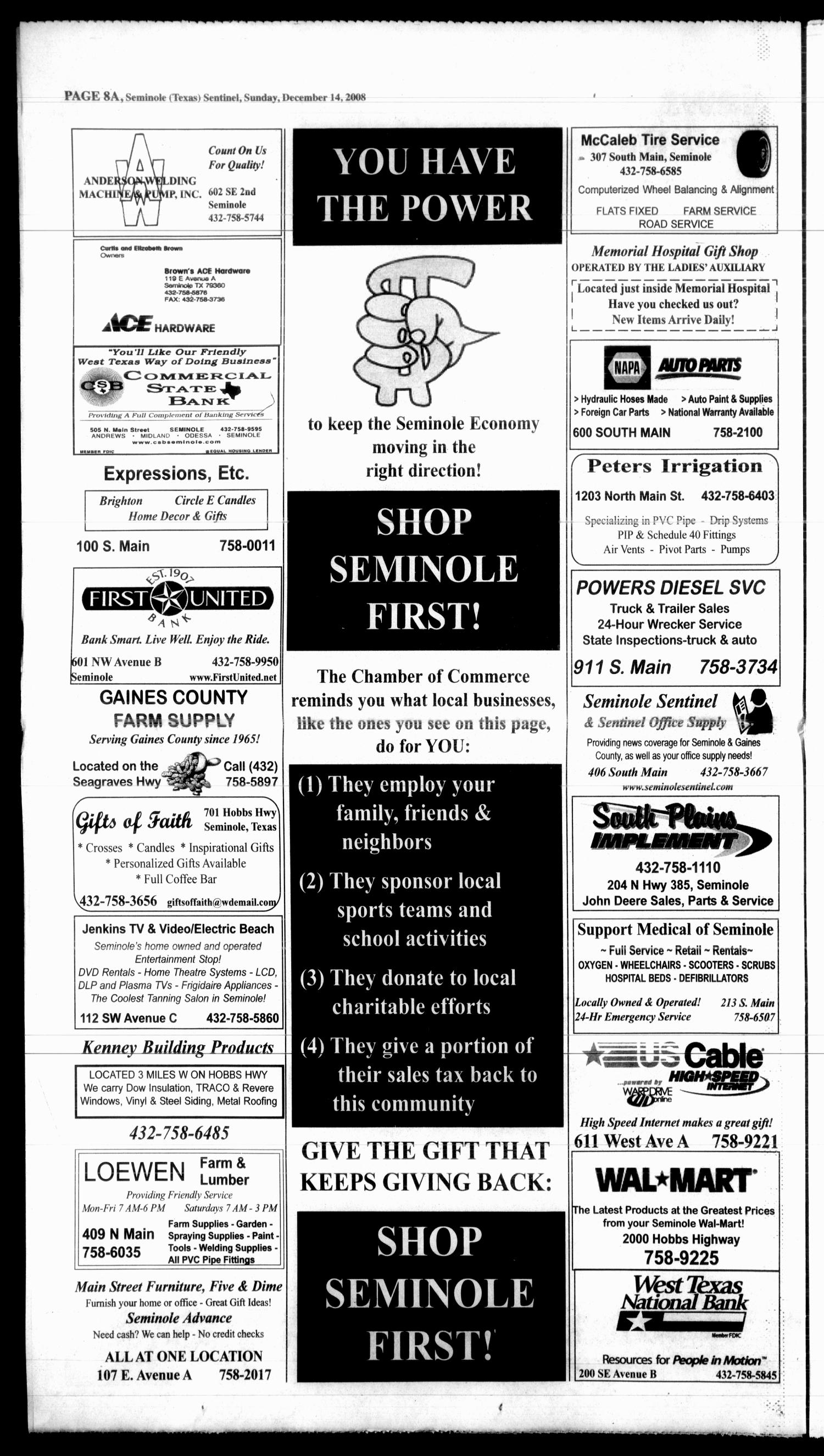 Seminole Sentinel (Seminole, Tex ), Vol  100, No  20, Ed  1