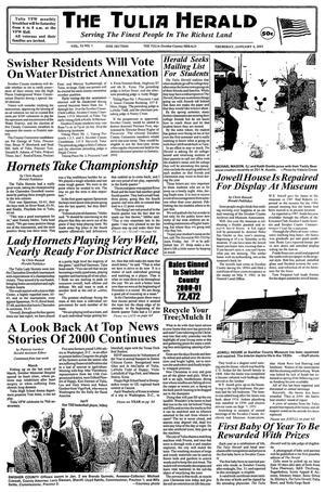 The Tulia Herald (Tulia, Tex.), Vol. 93, No. 1, Ed. 1 Thursday, January 4, 2001
