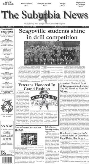 Primary view of object titled 'The Suburbia News (Seagoville, Tex.), Vol. 42, No. 1, Ed. 1 Thursday, November 21, 2013'.