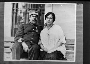 Primary view of object titled '[Portrait of Pancho Villa with Luz Corral de Villa]'.