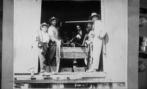Primary view of object titled '[Machine Gun in Box Car]'.