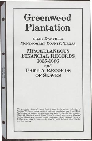 [Greenwood Plantation Accounts: Miscellaneous Financial Records 1855-1866 and Family Records of Slaves]