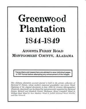 Primary view of [Greenwood Plantation Accounts: 1844-1849]