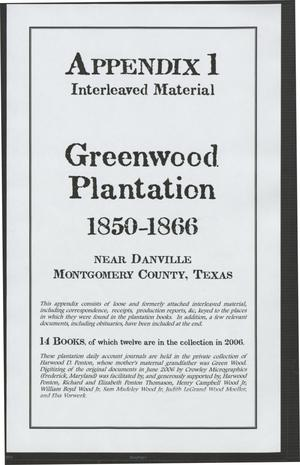[Greenwood Plantation Accounts: Appendix 1, Interleaved Material]