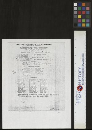 Primary view of object titled '[List of Personnel: CCC Company 872, Camp Bowie]'.
