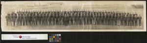 [Photograph of 142nd Infantry Regiment, 36th Division in Fort Dix, New Jersey]