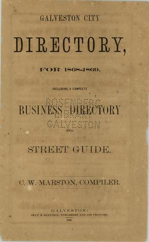 Primary view of object titled 'Galveston City Directory, 1868-1869'.