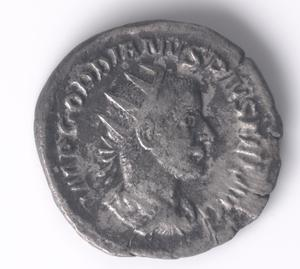 Primary view of object titled 'Coin of Gordianus III Pius Antoninianus'.