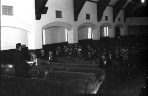 Primary view of object titled '[Congregation at First United Methodist Church]'.