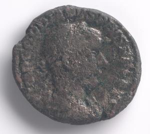Primary view of object titled 'Sestertius coin of Roman emperor Marcus Ulpius Trajan'.