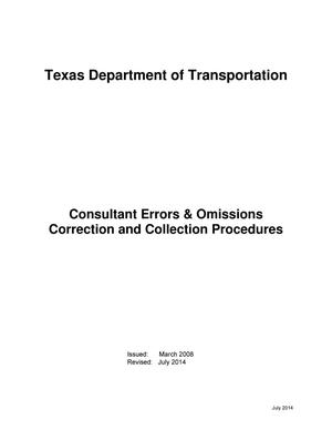 Primary view of object titled 'TxDOT Consultant Errors & Omissions Correction and Collection Procedures'.