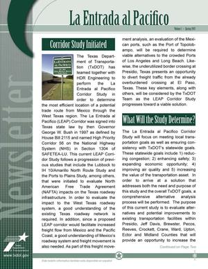 Primary view of object titled 'La Entrada al Pacifico Newsletter, Volume 1, Spring 2007'.