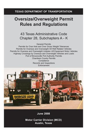 Primary view of object titled 'Oversize/Overweight Permit Rules and Regulations'.