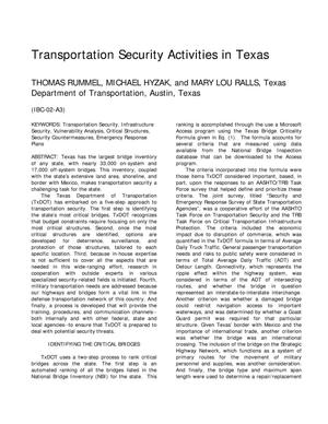 Primary view of object titled 'Transportation Security Activities in Texas'.