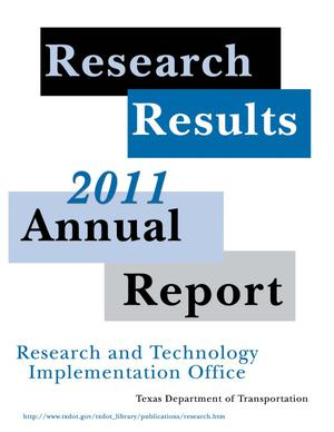 Primary view of object titled 'Research Results: 2011 Annual Report'.
