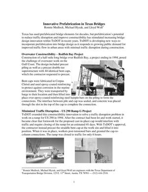 Primary view of object titled 'Innovative Prefabrication in Texas Bridges'.