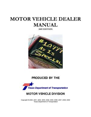 Primary view of object titled 'Motor Vehicle Dealer Manual: 2009 Edition'.