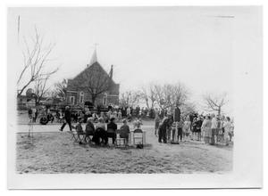 Primary view of object titled '[People in Front of a Church]'.