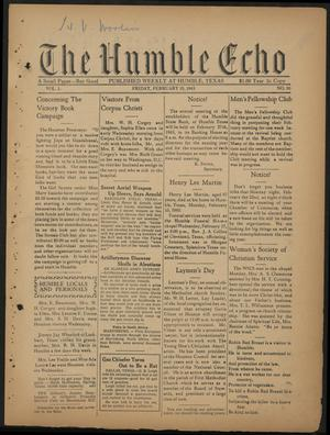 Primary view of object titled 'The Humble Echo (Humble, Tex.), Vol. 1, No. 36, Ed. 1 Friday, February 19, 1943'.