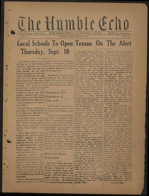 Primary view of object titled 'The Humble Echo (Humble, Tex.), Vol. 1, No. 12, Ed. 1 Friday, September 4, 1942'.