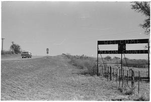 Primary view of object titled '[Roadsign for Mason County, Texas]'.