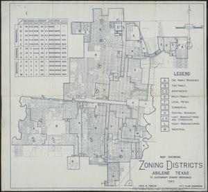 Map Of The Zoning Districts In The City Of Abilene The Portal To Texas History