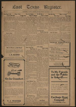 East Texas Register. (Carthage, Tex.), Vol. 20, No. 40, Ed. 1 Friday, October 7, 1921