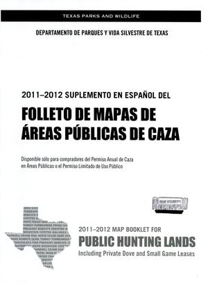 Primary view of object titled '2011-2012 Suplemento en Espanol Del Folleto de Mapas de Areas Publicas de Caza'.