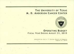 Primary view of object titled 'University of Texas M. D. Anderson Cancer Center Operating Budget: 2015'.