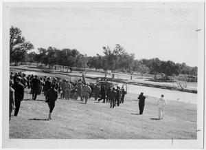 Primary view of object titled '[People Greeing a Helicopter]'.