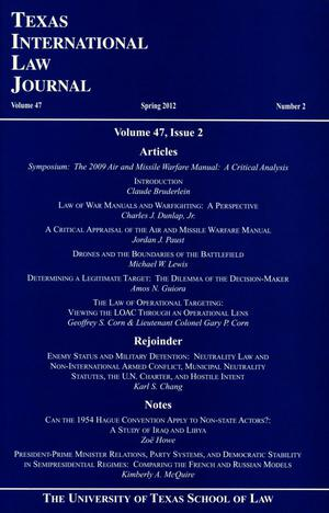 Primary view of Texas International Law Journal, Volume 47, Number 2, Spring 2012