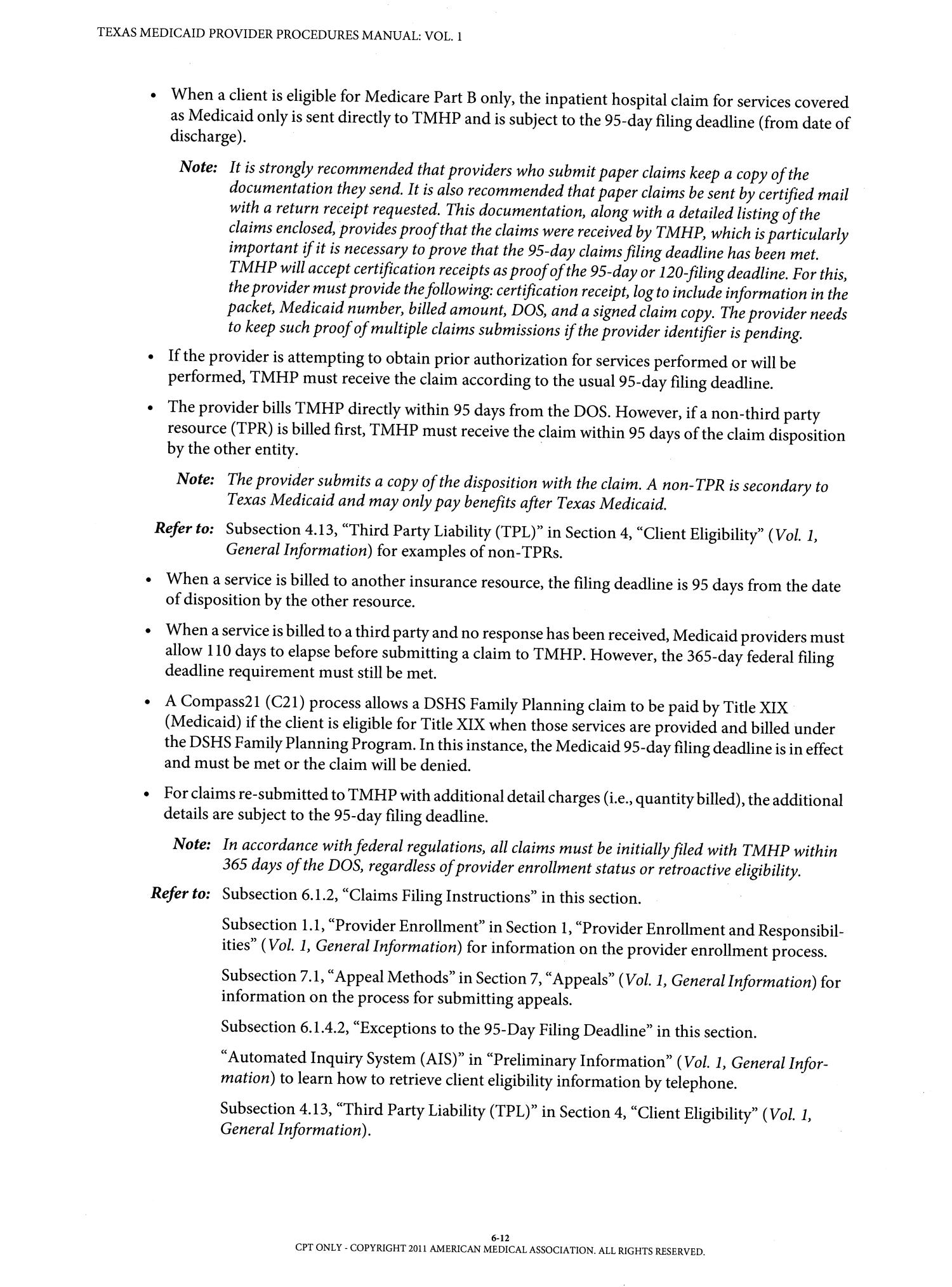 Texas Medicaid Provider Procedures Manual: Volume 1, Generalrmation   Page 612  The Portal To Texas History